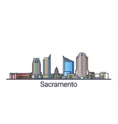 flat line sacramento banner vector image
