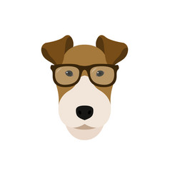 Fox terrier dog in glasses cute dog vector
