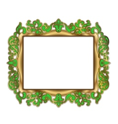 Gold green frame vector