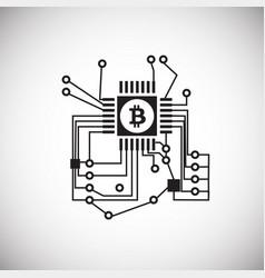 Graphical gpu processor bitcoin on white vector