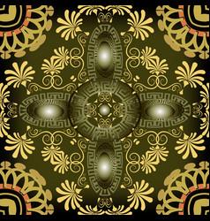 greek key meanders floral 3d seamless pattern vector image