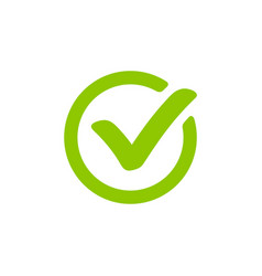 Green check mark icon in a circle vector