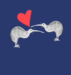 Greeting card with enamored kiwi birds vector