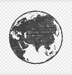 Grunge texture gray world map globe transparent vector