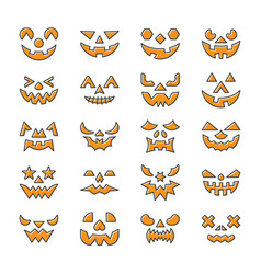 halloween face set line icon with displaced fill vector image