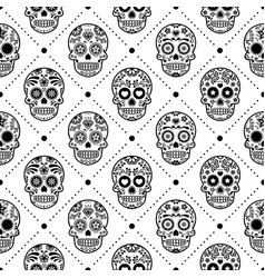 Halloween seamless pattern mexican sugar skull vector