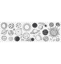 hand drawn planets doodle set vector image
