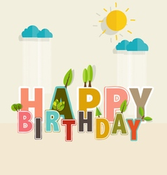 Happy Birthday Greeting Card with Happy Birthday vector image