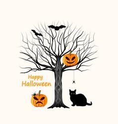 happy halloween with black cat vector image