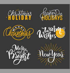 Happy holidays best wishes merry bright christmas vector