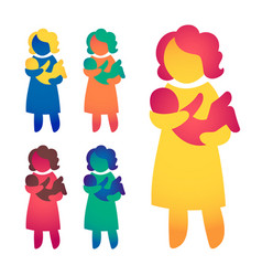 Happy single parent and baby icon multicolored in vector