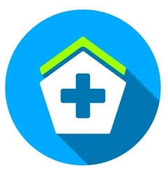 Hospital Flat Round Icon with Long Shadow vector