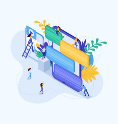Isometric concept young people in social networks vector