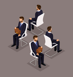 isometric set businessmen sitting on a chair vector image