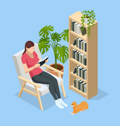 isometric woman sitting in a chair at home and vector image