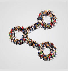 Large group of people in the share sign shape vector