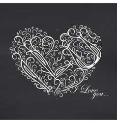Love you Blackboard background vector image