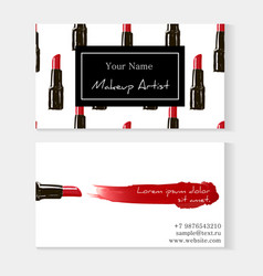 Makeup artist business card template red lipstick vector