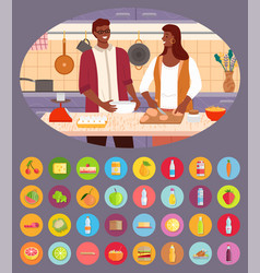 man and woman cooking together icons products vector image