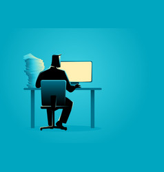 man working behind desktop computer vector image