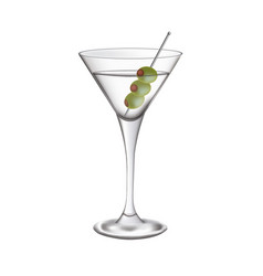 martini glass with olives vector image