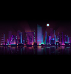 Metropolis night landscape neon cartoon vector