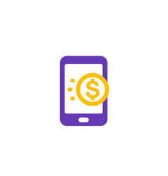 money transfer with smartphone mobile payment vector image