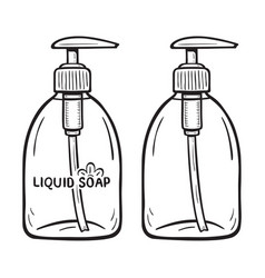 Monochromatic cartoon liquid soap bottle with vector
