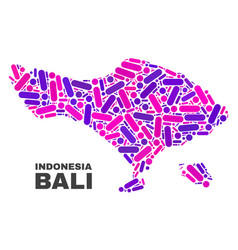 Mosaic bali map of dots and lines vector