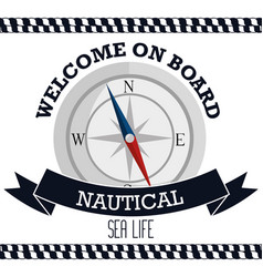 Nautical frame with compass vector