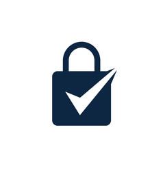 padlock check lock key logo icon vector image