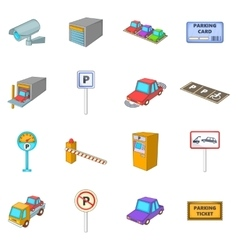 Parking items icons set cartoon style vector
