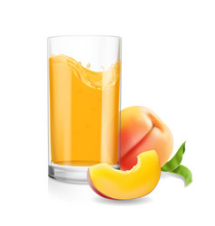 Peach juice in glass tropical fruit fresh drink vector