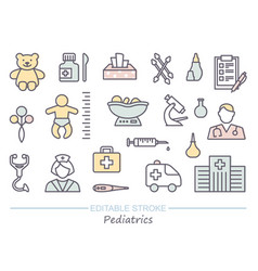 pediatrics medical care for children line icons vector image