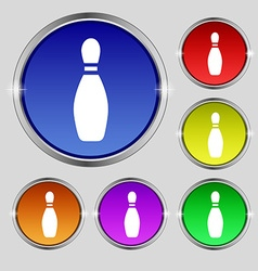 Pin bowling icon sign Round symbol on bright vector