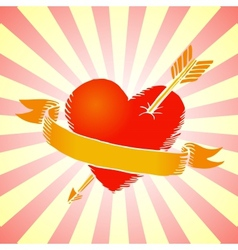 Retro heart with ribbon vector image