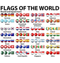 Round and square icons flags world vector