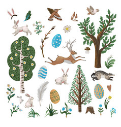 rustic elements such as trees rabbits eggs vector image