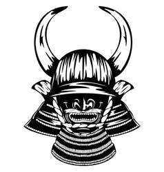 Samurai helmet with horns menpo with yodare kake vector
