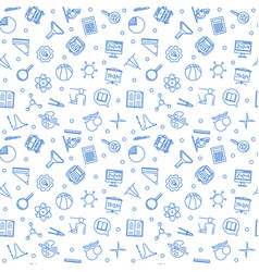 seamless pattern with school blue linear vector image