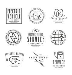 Set electric car labels vector
