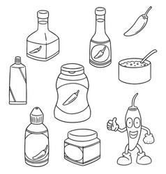 set of chilli product vector image