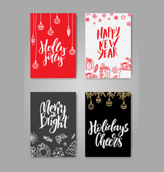 set of cute christmas cards posters collection vector image