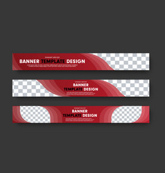 set of red horizontal web banners with abstract vector image