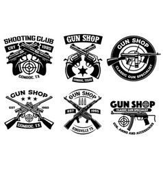 Shooting club badge set collection vector