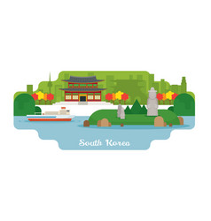 South korea travel and attraction landmarks vector