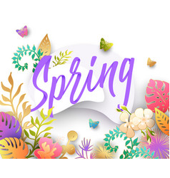 spring background with paper cut flowers vector image