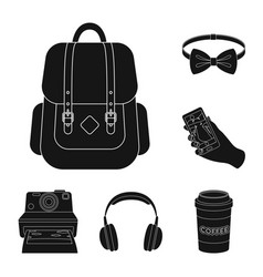 style hipster black icons in set collection for vector image