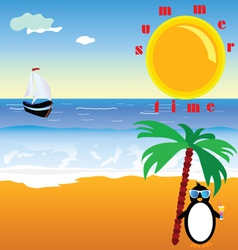 Summer time with penguin vector