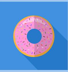 sweet glaze pink donut fast food icon flat design vector image